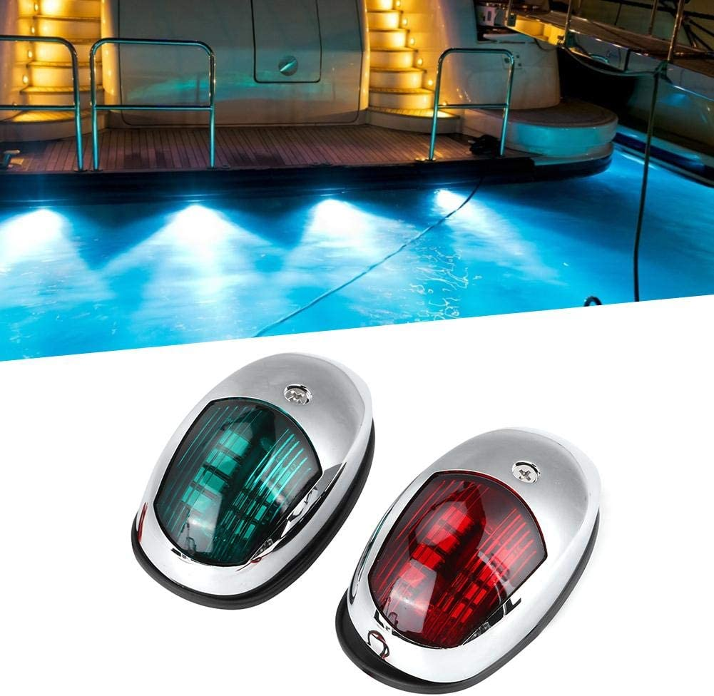 Acouto Marine Boat Yacht Light 12V,12V LED Marine Navigation Light Waterproof Green Starboards Red Port Lamp Side Mount for 20m Boat Maximum