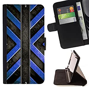 DEVIL CASE - FOR Apple Iphone 6 PLUS 5.5 - Interior Design Structure Blue Black Art Wall - Style PU Leather Case Wallet Flip Stand Flap Closure Cover