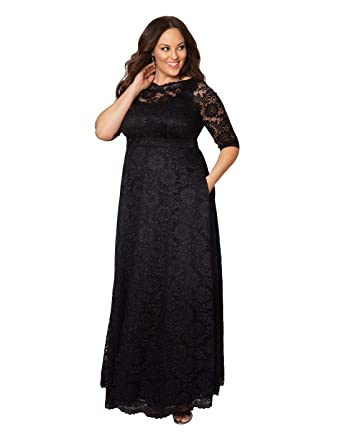 b4c3878090ab1 Kiyonna Women s Plus Size Special Edition Leona Lace Gown at Amazon Women s  Clothing store