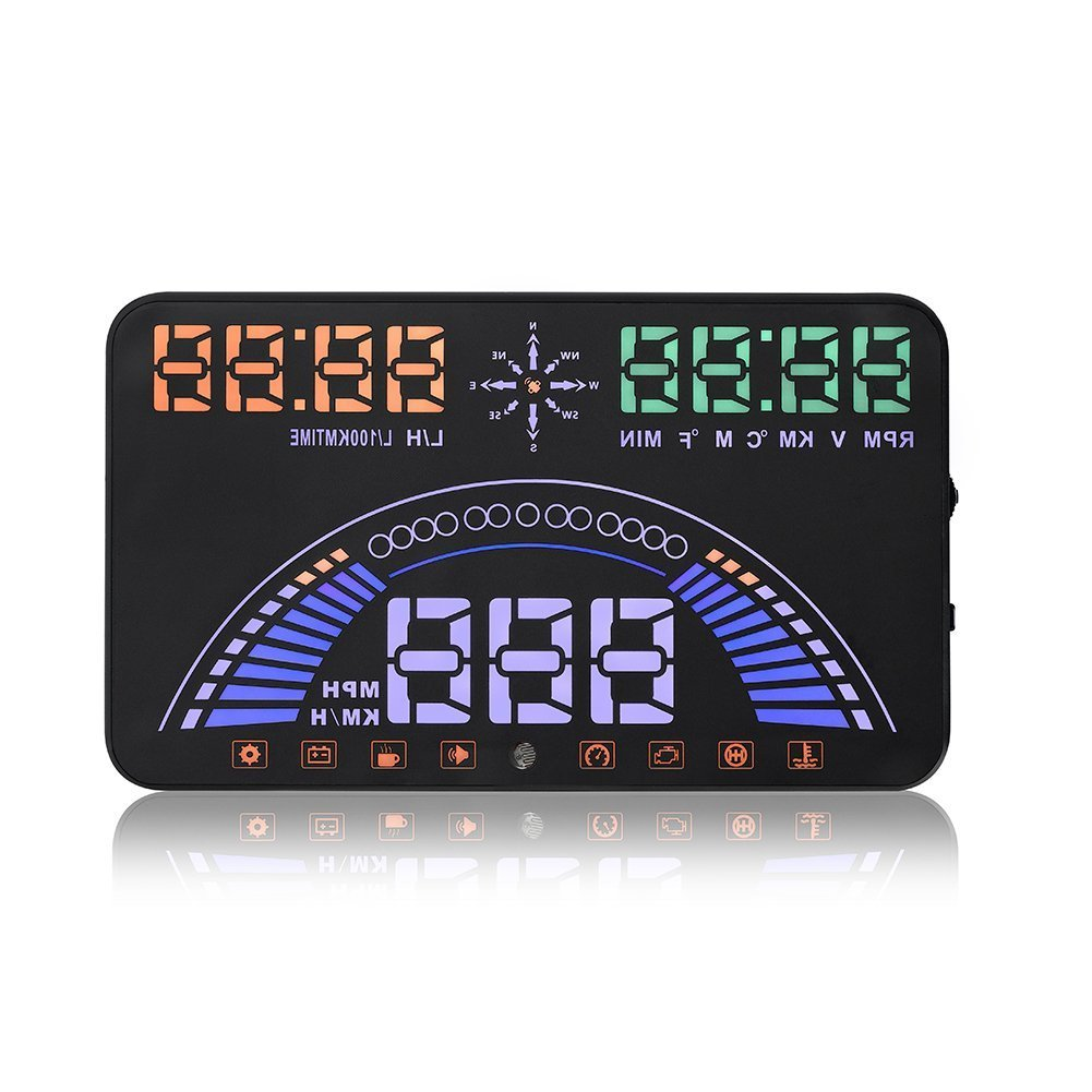 Diagtree New Universal 5.8 Inch S7 Multi-color Car HUD Head Up Display with OBD2 Interface Plug Play KM/h MPH Speeding Warning Combine OBD & GPS System