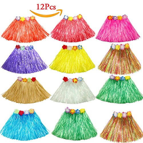 Skirt Multi Color Hula Grass (12pcs Girls Tropical Hawaiian Elastic Dancer Grass Luau Hula Skirts Luau Party Favors Kid's Flowered Waistband Birthdays Costume)