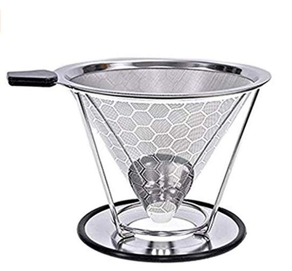 (Hive) - SHP Coffee Filter,304 Stainless Steel double mesh Pour Over Coffee Filter for 2-8 Cups, Cone Coffee Dripper Paperless Stainless Steel Coffee Dripper Stand  Hive B07DXQ3XS9