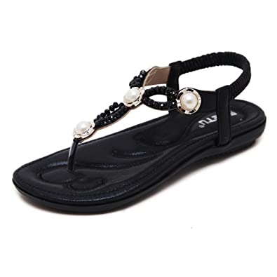 0ba2864f5ef Meeshine Womens T-Strap Open Toe Sparkle Flip-Flops Summer Dress Flat Sandals  Shoes