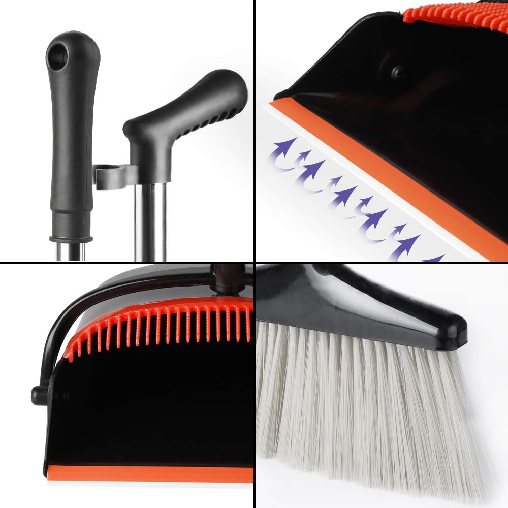 Black Broom and Dustpan Set | Long Handle for Home Kitchen Room Office | Wisp and Dust Cleaner by QJQBMAI by QJQBMAI (Image #3)