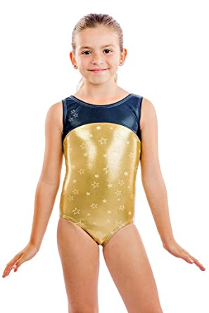 3aa59b0d7 Girls Gymnastics Leotard Star Bright Gold Two Tone Leotard with Crystal  Star by Lizatards Comes in Girls and Adult Sizes