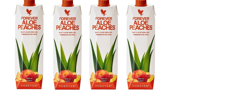 Pack 4 Bottles Forever Living Aloe Vera Peaches 33.8 Fl OZ New Tetra Pak Packaging