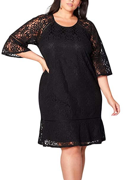 Lucklovell Women Sexy Black Crochet Lace Overlay Plus Size