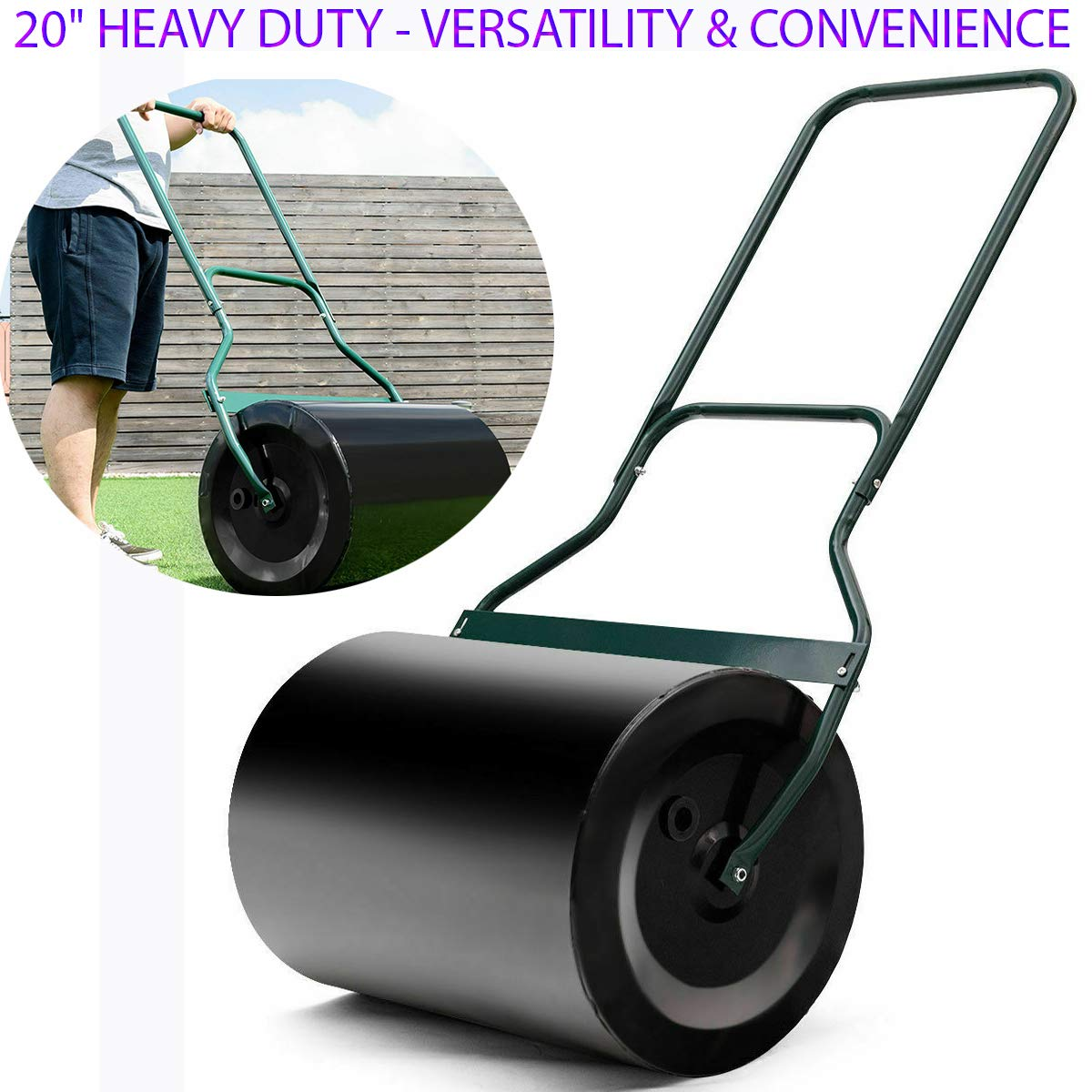 20'' Heavy Duty Poly Push Tow Lawn Roller Poly Roller Green Sprayed Surface, Smooth Surface, Not Easy to Rust, Beautiful & Fashionable Color with U-Handle for Comfortable Pull & Push Use by Sunnady