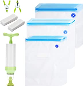 Sous Vide Bags Kit for Anova and Joule Cookers,15 Reusable BPA Free Food Vacuum Sealed Bags,1 Hand Pump, Easy to Use, Practical for Food Storage & Cooking