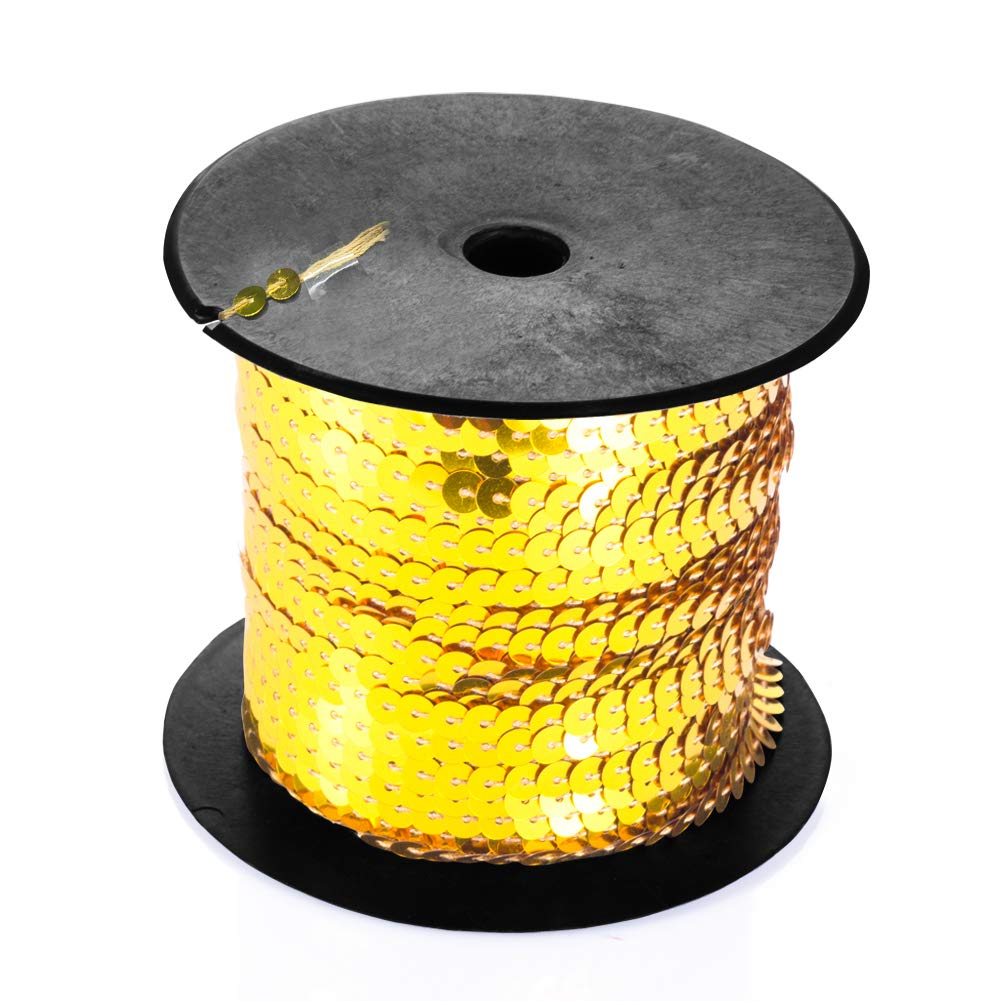 DIY Projects 6mm Flat Sequin Trim Sequin String Ribbon Roll for Crafts Gold Suhome Paillettes Sequins Roll Costume Accessories Embellishments 100 Yards
