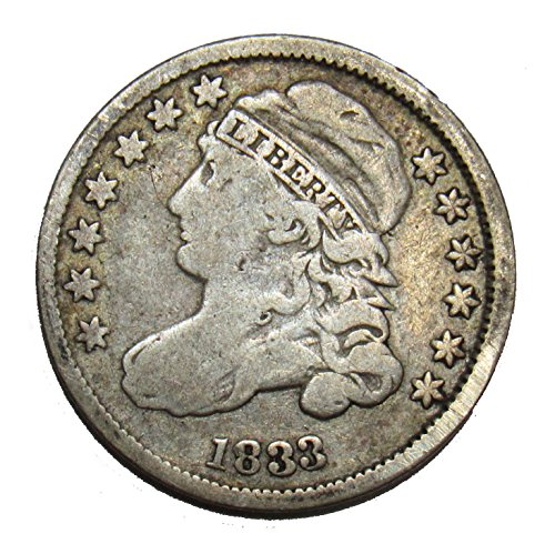 - 1833 Capped Bust Dime 10¢ Fine