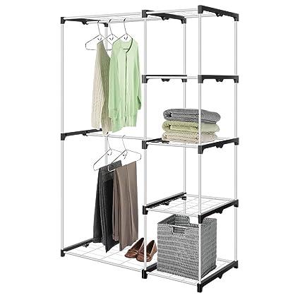 Beau ROKOO Clothes Closet Wardrobe Organizer Stainless Steel Tube Double Rod  Closet Storage System