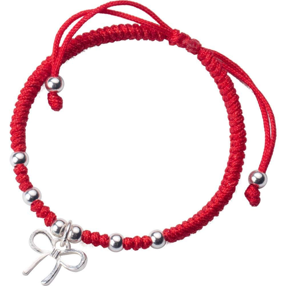 S925 Silver Bracelet Women/'S Han Xiaoqing New Bow Sweet Hand-Woven Red Rope Beads Jewelry LOt