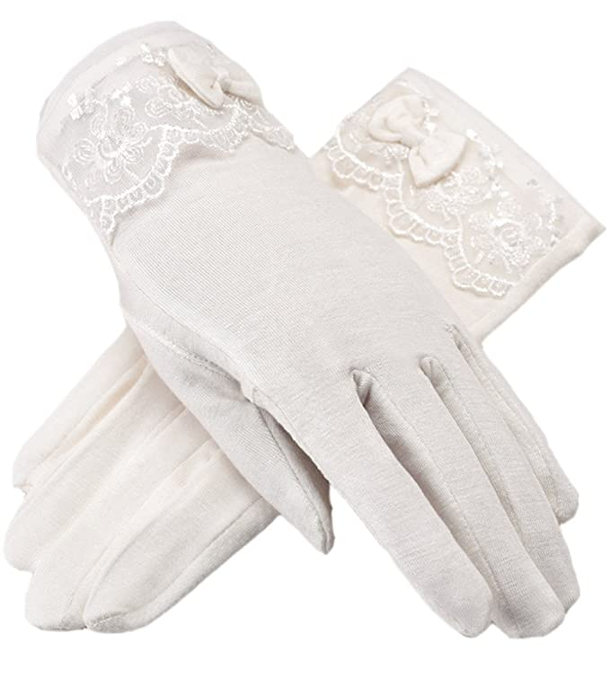 Edwardian Gloves, Handbag, Hair Combs, Wigs Women Driving Sunscreen Slip Gloves Cotton Gloves Breathable Lace Bow $8.98 AT vintagedancer.com
