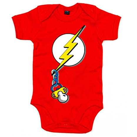 Body bebé The Flash logo con chupete - Rojo, 6-12 meses ...
