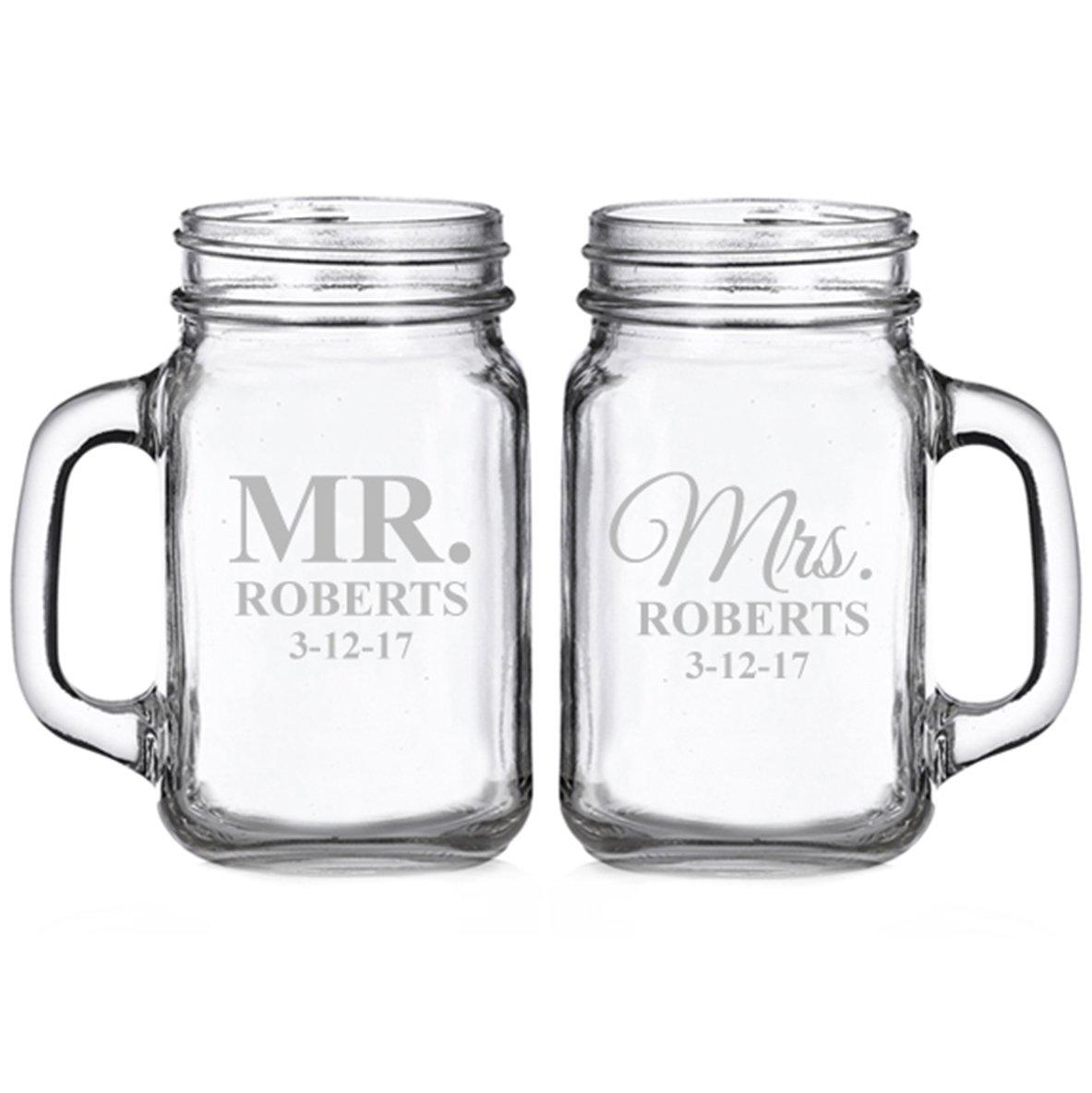 Mr. and Mrs. Classic Personalized Glass Mason Mugs (set of 2)