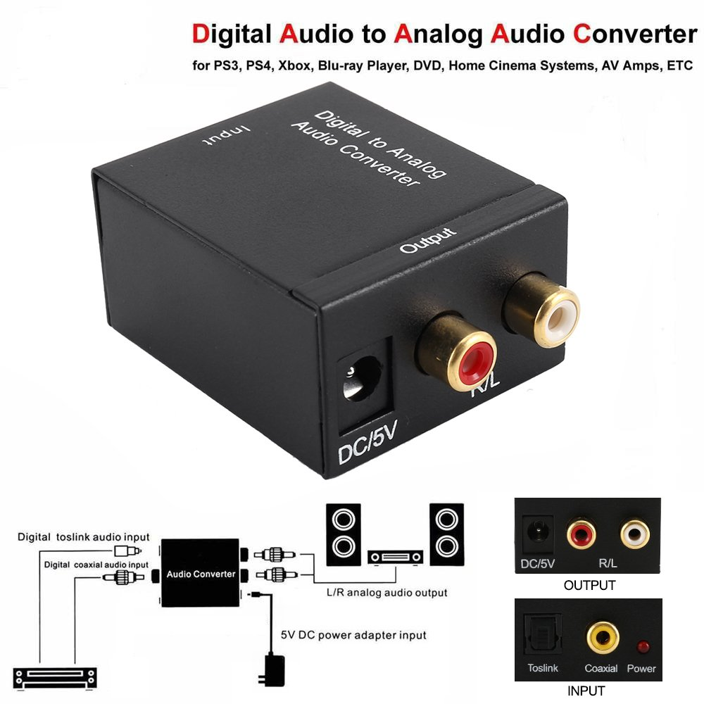 Enjoygous Digital to Analog Audio Converter, Digital SPDIF Optical Toslink Coax to Analog RCA Audio Converter Adapter With 1.5m Optical Audio Fiber Cable, ...