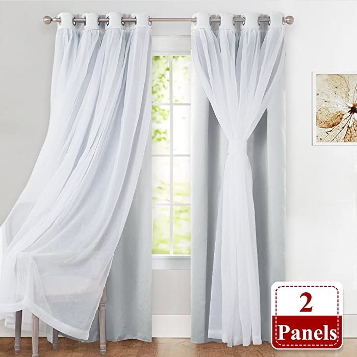 "PONY DANCE Window Curtain Panels with Sheer - Room Darkening Triple Woven Curtains Double Layers Draperies Panels for Living Room/Dining Room,52"" W by 84"" L, White, Double Pieces"