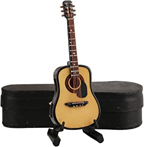 """Dselvgvu Wooden Miniature Guitar with Stand and Case Mini Musical Instrument Replica Collectible Miniature Dollhouse Model Home Decoration (Acoustic Guitar:with Pick Guard, 3.93""""x1.42""""x0.56"""")"""