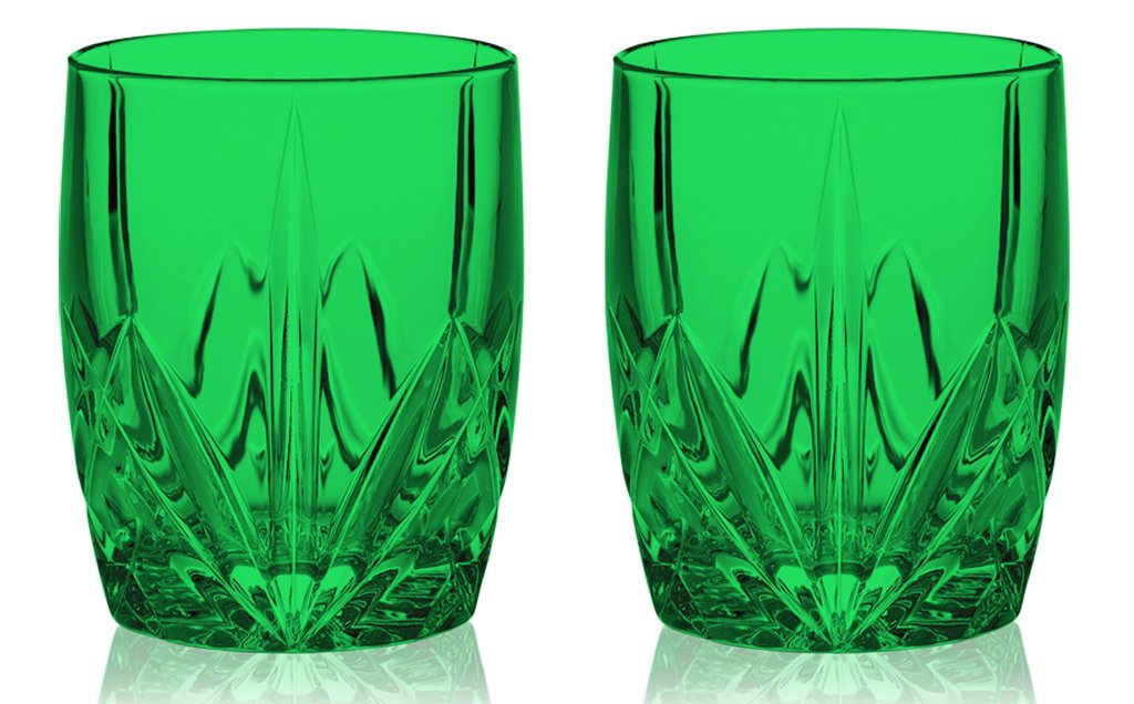 Christmas Tablescape Décor - Emerald green Waterford HapWaterford Brookside DOF glasses - Set of 2