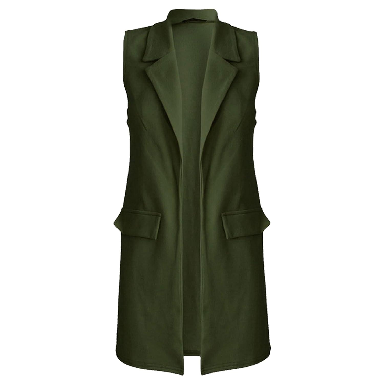 Candid Styles Women's Plus Size Sleeveless Crepe Mock Pocket Long Blazer Waistcoat Jacket Top