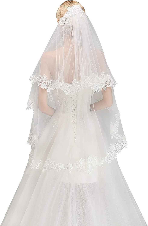 Women S Bridal Veil Lace Appliques Edge Fingertip Length With Comb