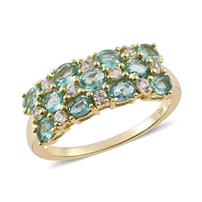 TJC Women 375 Gold 9ct Yellow Gold Emerald and Diamond Solitaire With Accents Ring Size O pdnEyhgY