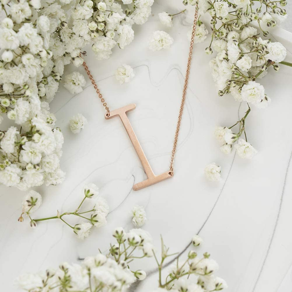 Rose Gold, Yellow Gold, White Gold Alphabet Necklace A-Z DIANE LOREN 18k Gold Plated Womens Sideways Initial Necklace for Women and Girls