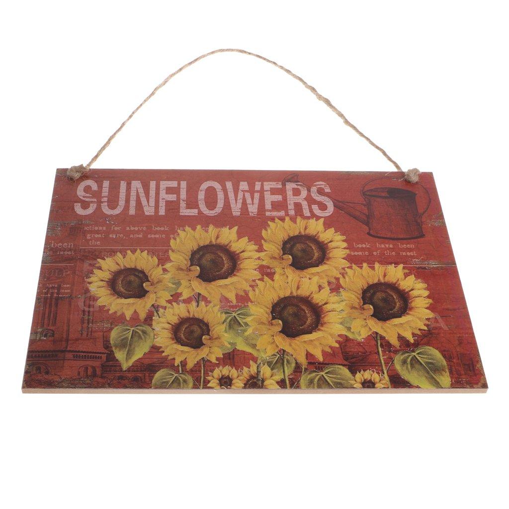 Homyl Wooden Sunflower Wall Hanging Sign Home Garden Gallery Art Decoration Board
