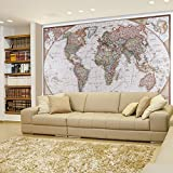 Wall26 Antique Political Mollweide Map Projection of the Earth - Full Color Complete with Visible Relief - Wall Mural, Removable Sticker, Home Decor - 66x96 inches
