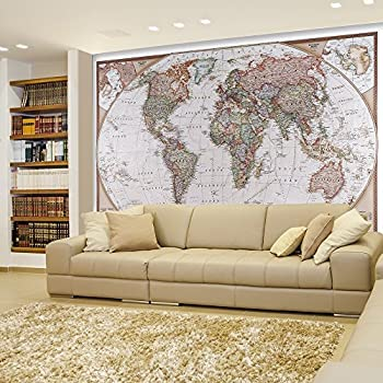 Laminated world map wall mural amazon wall26 peel and stick wallpapaer collage removable large wall mural creative wall decal 66x96 antique political mollweide map projection gumiabroncs Choice Image