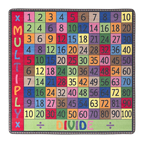 Flagship Carpets FE102-26A Multiply and Divide Rug, A Great Resource for Math Games and Activities, Children's Classroom Educational Carpet, 6' x 6', 72
