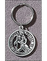 """Catholic Key Ring, Religious Men or Womens St Christopher Keychain. Material: Pewter Size: 1.5"""". Catholic Saint Christopher Patron Saint of Bookbinders, Epilepsy, Gardeners, Mariners, Pestilence, Thunder-storms, Travelers, Travel, Motorists, Truck Drivers, Bus Drivers, Archers, Automobile Drivers, Bachelors, Cab Drivers, Epileptics, Floods, Fruit Dealers, Gardeners, Hailstorms, Holy Death, Lightning, Mariners, Market Carriers, Pestilence, Sudden Death, Taxi Drivers, Toothache, Transportation Workers"""