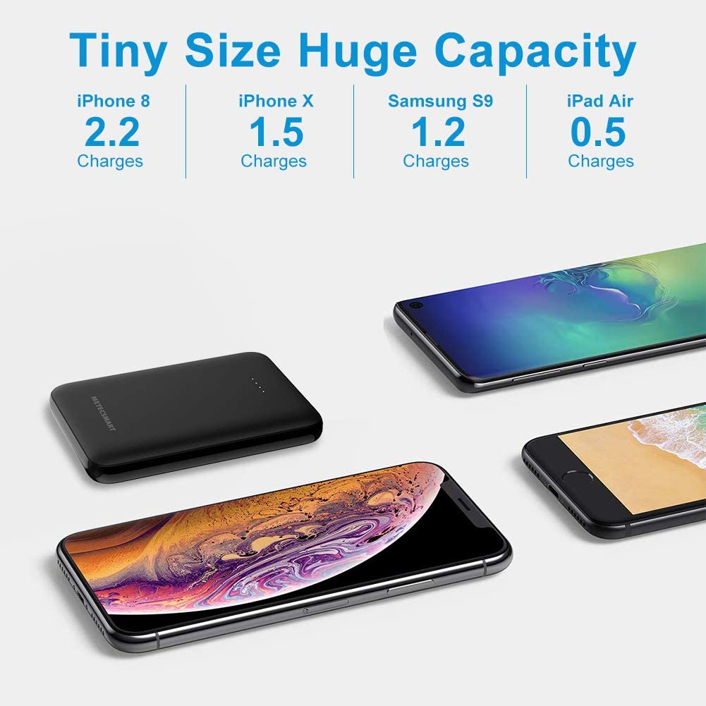 5000mah Small Portable Battery Lightweight Mobile Charger Battery Pack Backup Cell Phones Thin Power Bank Compatible with iPhones X max XS XR 6 7 8 Samsung
