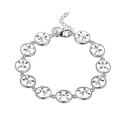 Amazon com: fashionbeautybuy Women Bracelet Pisces Bangle Silver