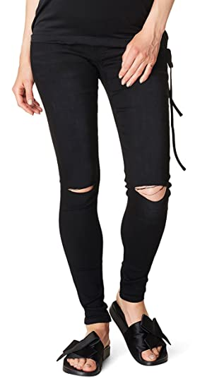 2de08d5b844a8 SUPERMOM Maternity Wear Ladies Skinny Maternity Jeans Black Cut - Black  Denim, 40 (Herstellergröße