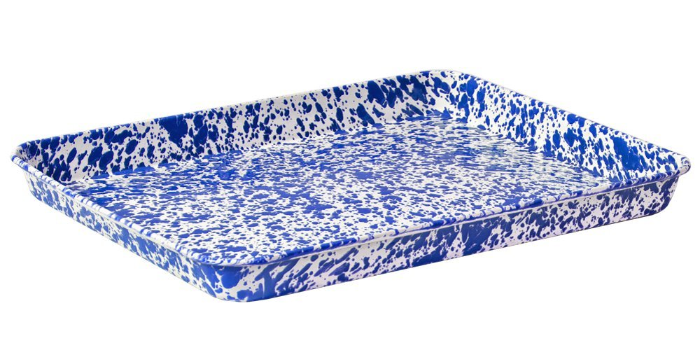 Enamelware Jelly Roll Tray Solid White with Blue Rim CGS International V90BLU