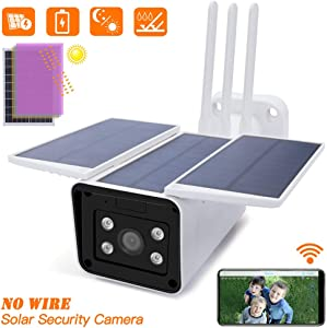 Panoraxy WiFi Security Solar Camera Outdoor, 10400mAh Battery Powered, 100% Wire-Free, 1080P 35fts Night Vision, Dual-Way Talk, Motion Activated, IP66 Waterproof, Instant Push, Free APP No Extra Fee