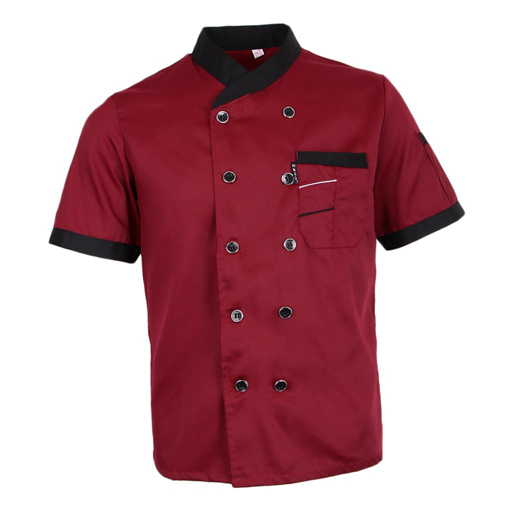 Prettyia Unisex Summer Breathable Executive Chef Jacket Coat Kitchen Bakery Uniform Short Sleeves 5 Colors Chef Apparel M-2XL - Red, L