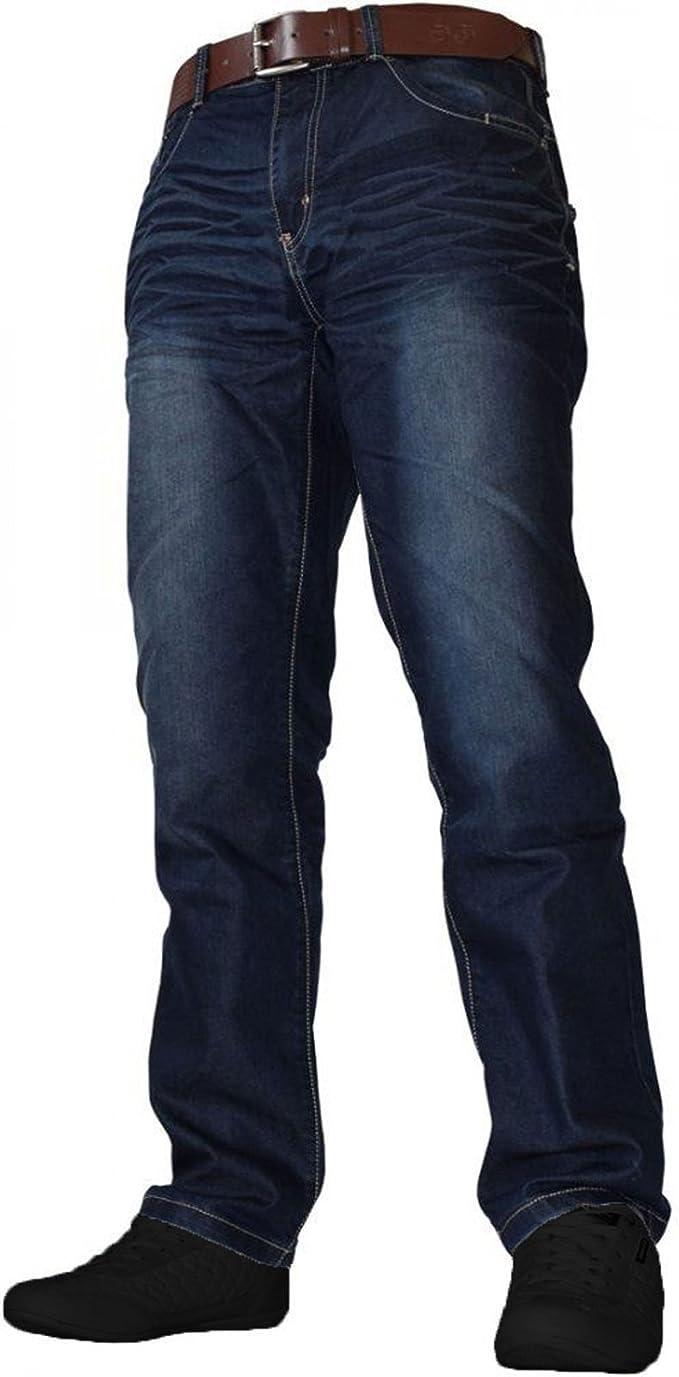 Crosshatch Mens Vintage Wash Regular Fit Straight Leg Jeans