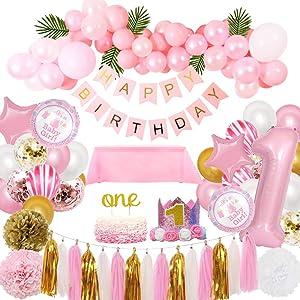 1st Birthday Decorations for Girl Pink Theme Kit Set- Baby Girl 1st Birthday Party,Cake Topper Flower Crown Tiara Cap Headband Paper Tassel Happy Birthday Banner, Fiesta Pink Hanging Paper Fan Flower