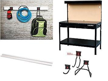 Garage Workbench With Light Wood Steel Work Bench Tools Table Home Workshop  Includes Garage Storage Rail