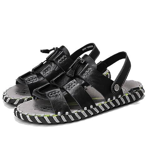 Sandali da spiaggia uomo sandalo pantofola estiva open-toe in morbida pelle di pescatore antiscivolo in vera pelle vintage (taglia 38-44) (Colore : Marrone, dimensioni : 41)