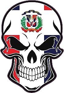 WickedGoodz Dominican Flag Skull Vinyl Decal - Dominican Republic Bumper Sticker - Proud Caribbean Gift