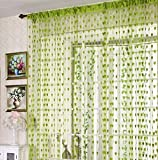 Homefab India Beautiful String Heart Tabtop Polyester Door Curtain - 7ft, Green