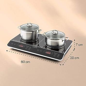 Klarstein VariCook Slim - Cocina, Placa de inducción doble, 3500 W, 240° C, 10 Niveles, Temporizador, Panel táctil, Visor LED, Protección ...
