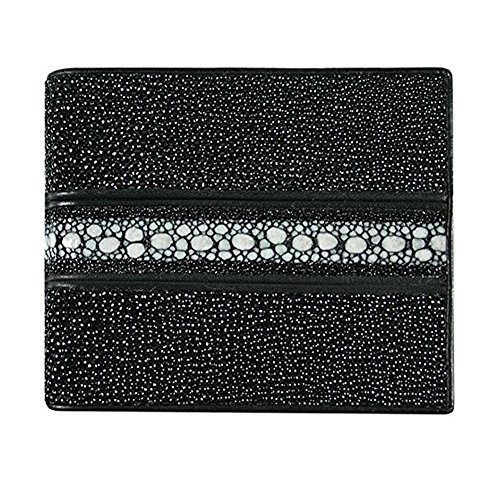 (Classic Genuine Stingray Leather Bi-Fold Wallet w/ Left Flap (Stripped Black))