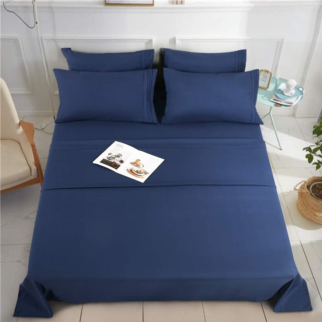 KARRISM King Size 6 Piece Bed Sheets Set Extra Soft & Breathable Brushed 1800 Series Microfiber, Wrinkle & Fade Resistant, Comfortable Deep Pocket Bedding Set, Navy Blue