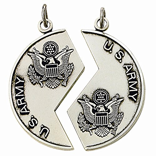 TrueFaithJewelry Sterling Silver Two Piece Mizpah United States Army Medals Pendant Set, 1 1/8 Inch