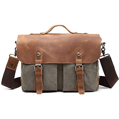 2d5ef8dfc31d Casual Men s Messenger Bag Waterproof Canvas Leather Computer Laptop Bag